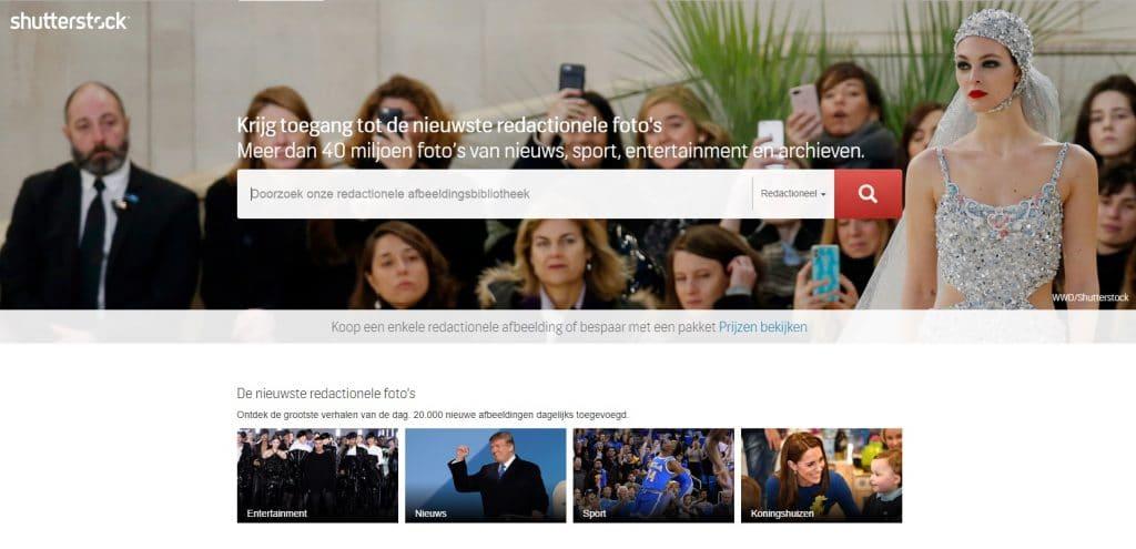 Shutterstock screenshot website redactionele afbeeldingen