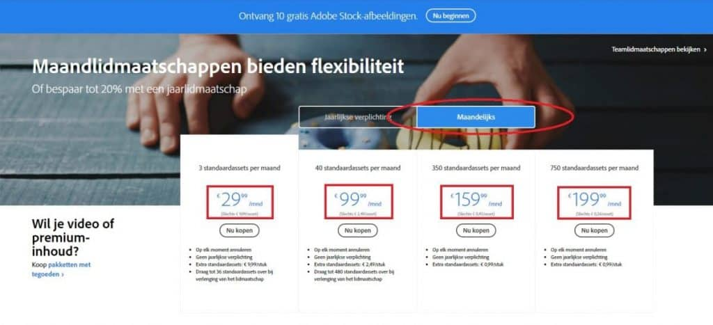 Adobe Stock maandabonnementen thinkstock alternatieven