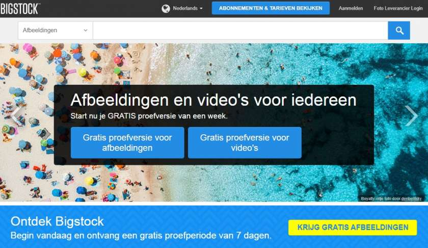 Bigstock website screenshot