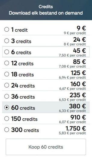 Credit-pakketten van iStock