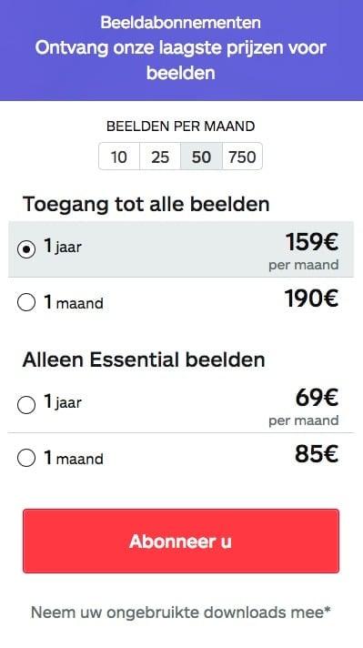 Beeldabonnementen prijzen iStock