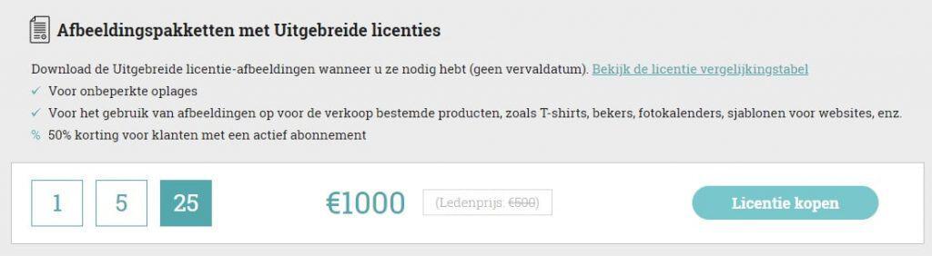 StockPhotoSecrets Shop licentieprijzen
