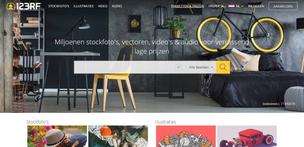 123RF homepage