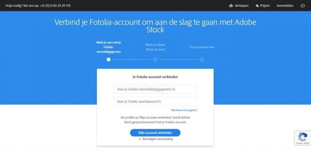 Fotolia-account verbinden met Adobe Stock
