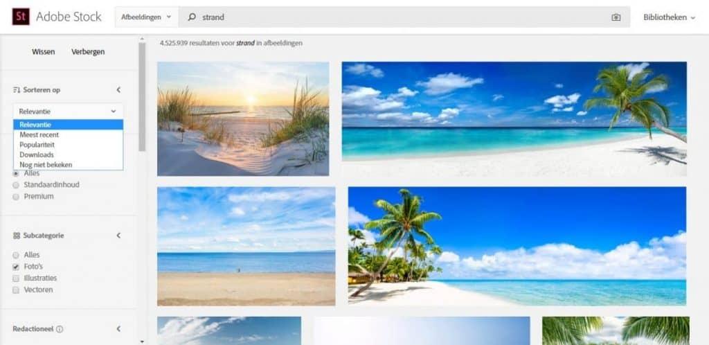 Fotolia by Adobe verfijnd zoeken