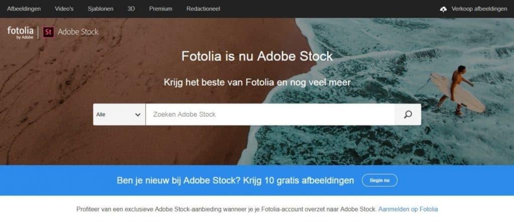 Fotolia by Adobe homepage