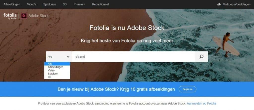 Fotolia by Adobe zoekfunctie