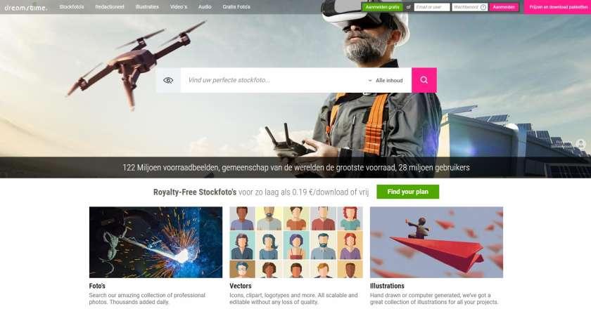 Dreamstime screenshot website - gratis kredieten