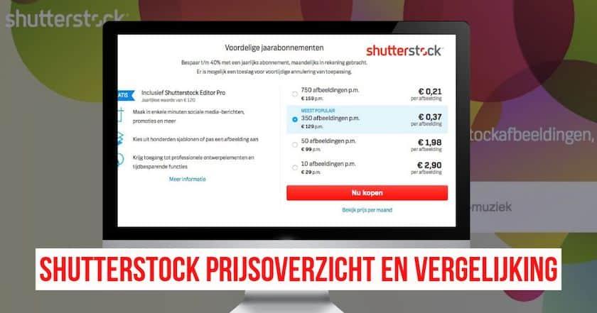 Shutterstock prijsoverzicht en vergelijking 1