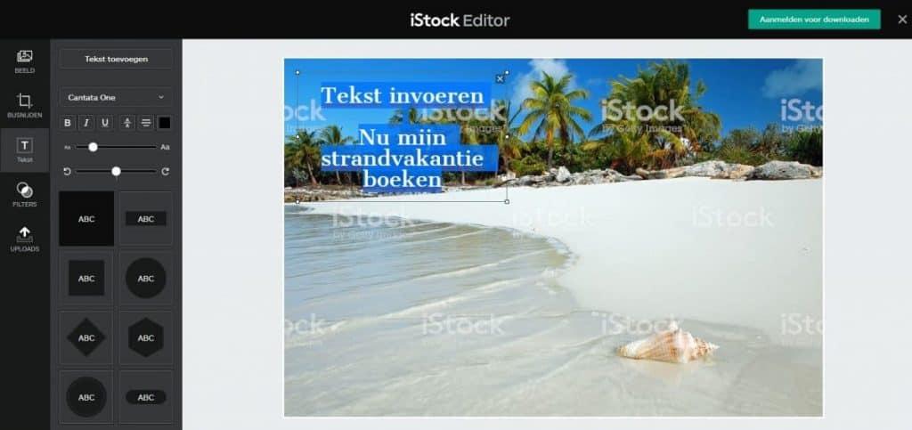 iStock gebruik editor