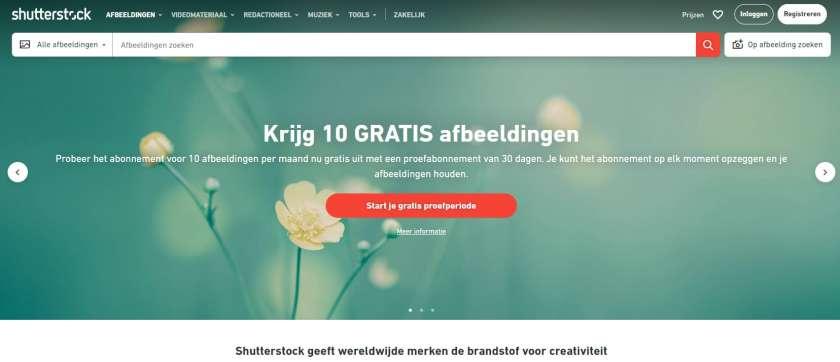Shutterstock screenshot website - afbeeldingen zoeken