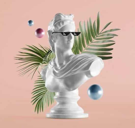 Witte buste met zonnebril en palmtakken