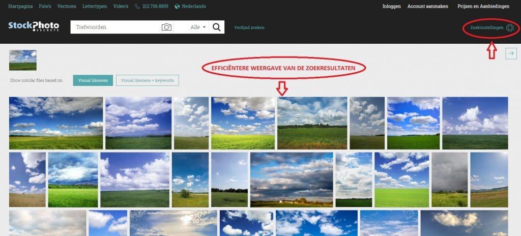 visuele zoekfunctie weergave zoekresultaten