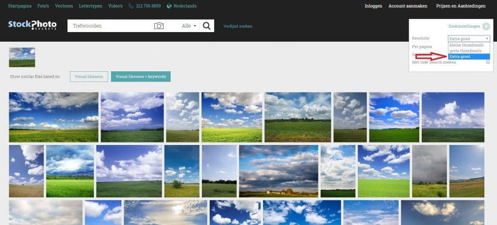 visuele zoekfunctie selectie extra groot