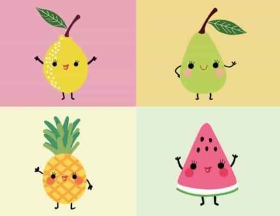 Kawaii figuren in frisse kleuren