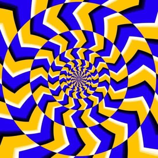 Hypnotiserende afbeelding i blauw en geel