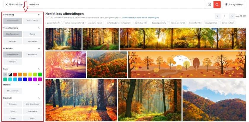 Shutterstock zoekfilters
