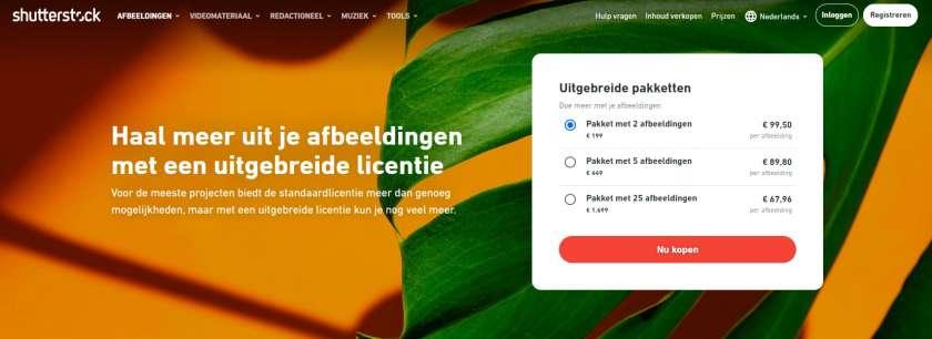 Shutterstock uitgebreide licentie