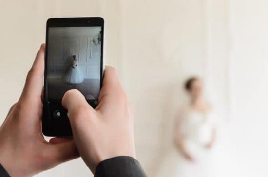 Foto bruid maken met smartphone