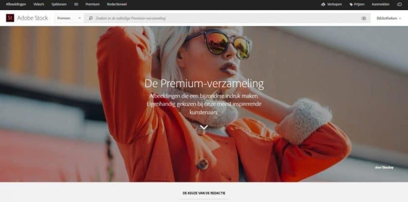 Adobe Stock Premium afbeeldingen screenshot website