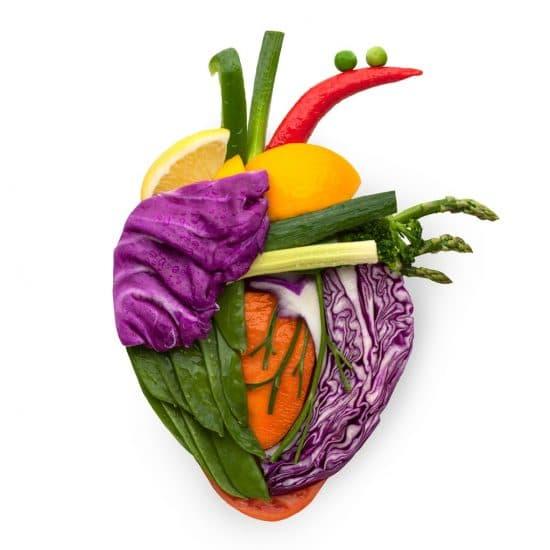 Menselijk hart van fruit en groenten