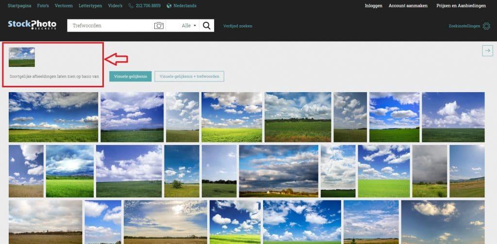 visuele zoekfunctie soortgelijke afbeeldingen