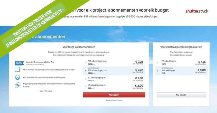 Shutterstock prijzen - alles wat u daarover moet weten! 1