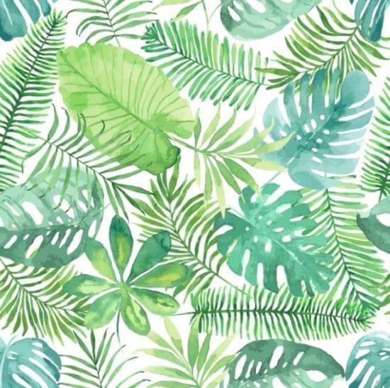Patroon met tropische bladeren in aquarelstijl