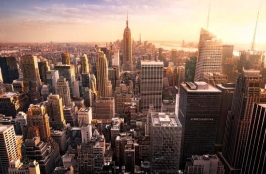 Shutterstock Skyline New York City bij zonsondergang