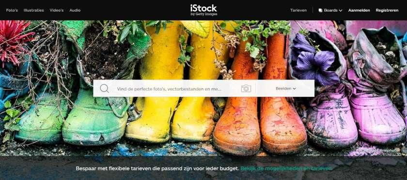 iStock screenshot homepage