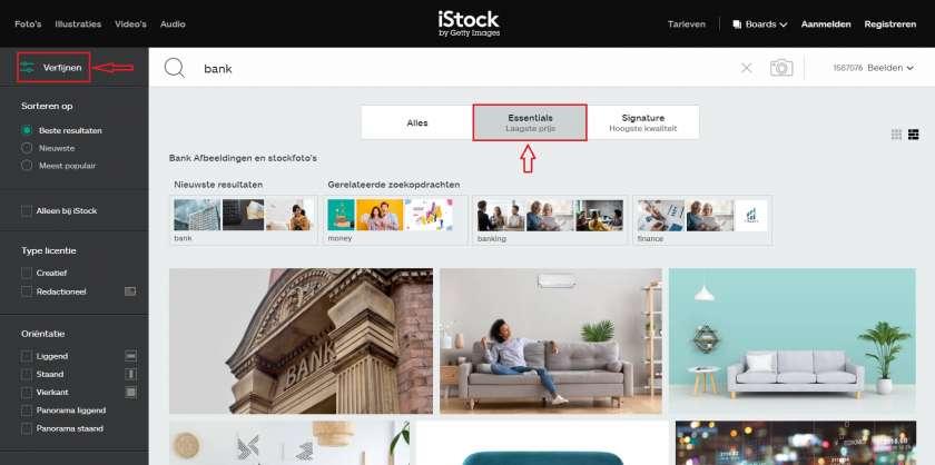 iStock zoekopdracht verfijnen