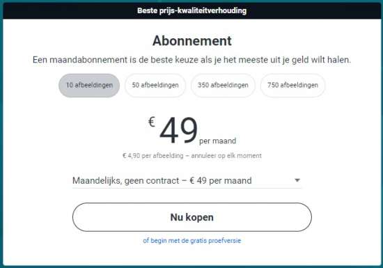 Shutterstock prijsoverzicht abonnementen