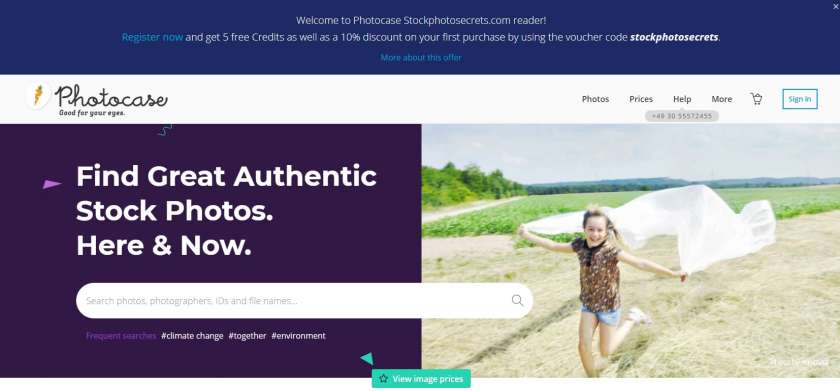 Screenshot Photocase website