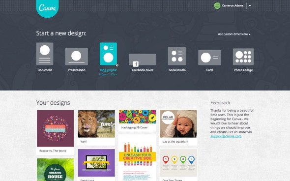 Canva screenshot homepage