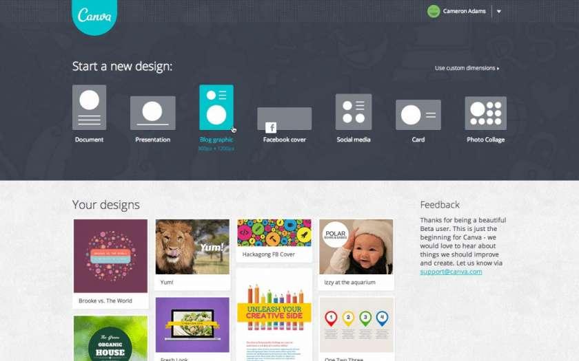 Ontwerpen met Canva - screenshot homepage