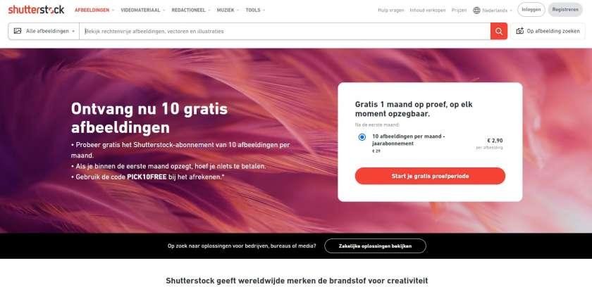 Shutterstock screenshot website