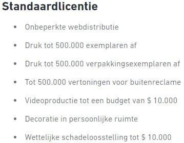 Shutterstock standaardlicentie