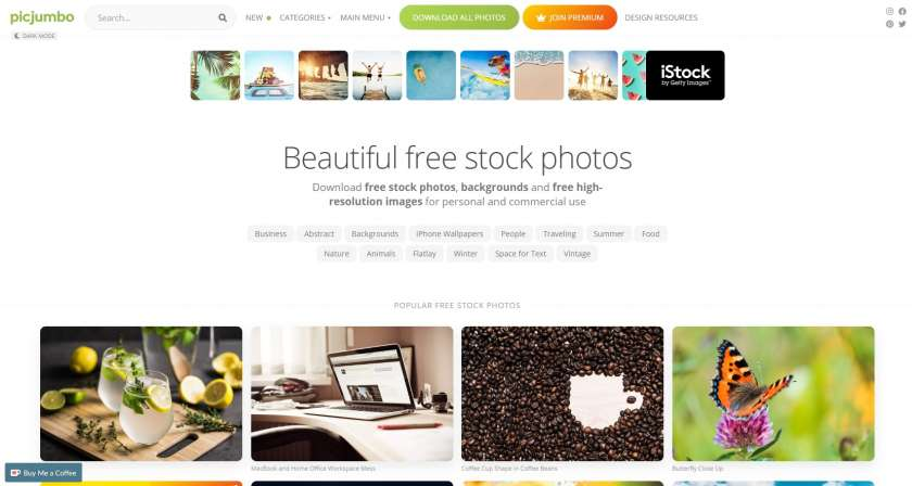 PicJumbo screenshot website