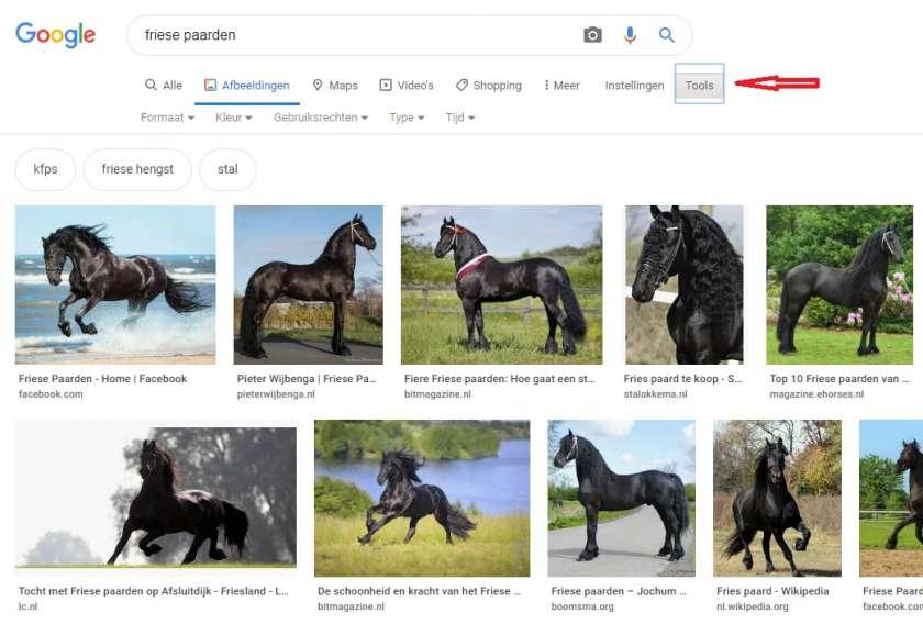 Google Afbeeldingen tools