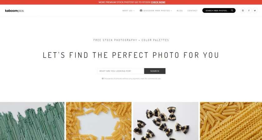 Kaboompics screenshot website