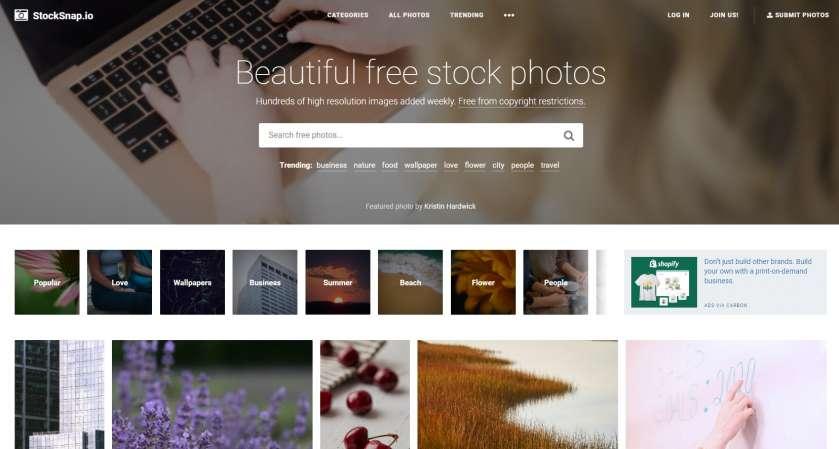 StockSnap.io screenshot homepage