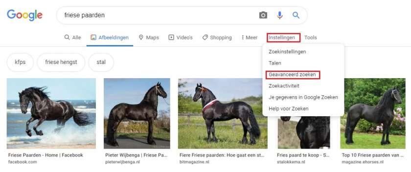 Google Afbeeldingen instellingen