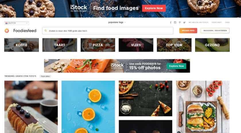 Foodiesfeed screenshot homepage