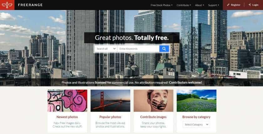Freerangestock screenshot website