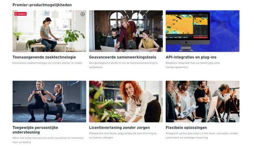 Screenshot Shutterstock Premier productmogelijkheden