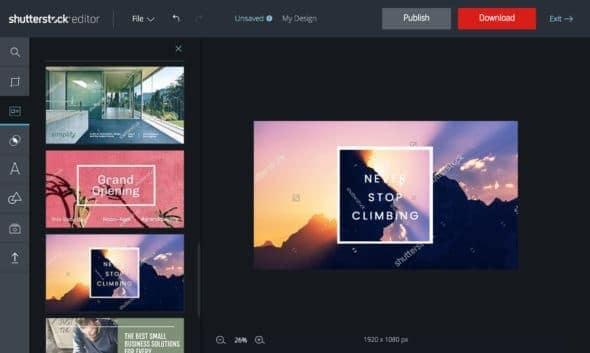 Shutterstock editor ontwerpsjablonen