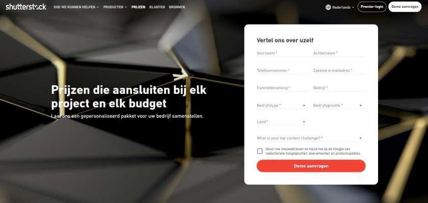 Screenshot Shutterstock Premier prijzen