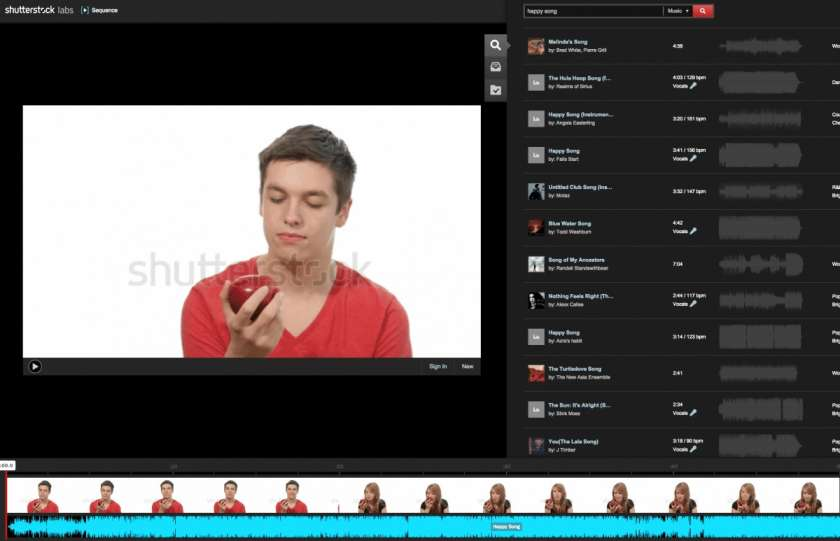 Shutterstock Sequence voor online videobewerking 1