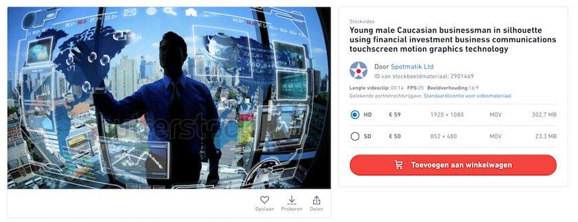 Screenshot Shutterstock Video bestellingsoverzicht