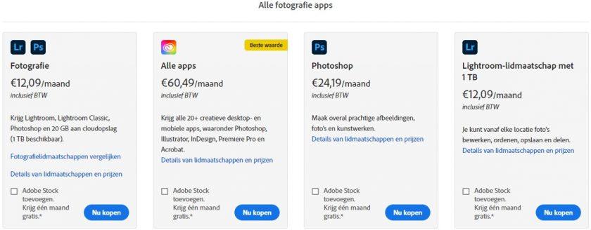 Screenshot Adobe Creative Cloud prijzen